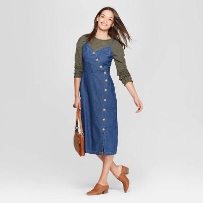 Women's Asymmetrical Button Front Denim Dress - Universal Thread™ Blue