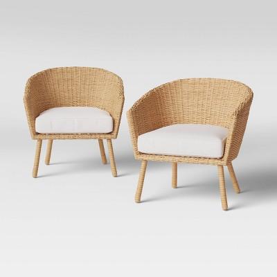 2pk eliot closed weave wicker patio club chairs threshold