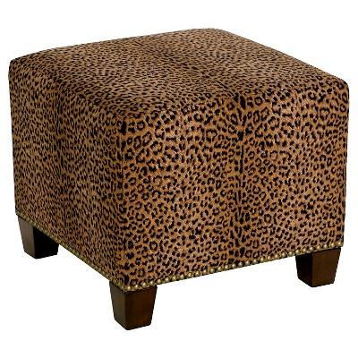 square nail button ottoman cheetah earth skyline furniture