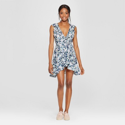Women's Floral Print Wrap Front Ruffle Dress - Love @ First Sight (Juniors') Blue