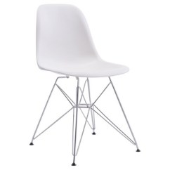 Mid Century Modern Plastic Chairs Beach With Umbrellas Attached Chromed Steel And Abs Dining Chair White Zm Home