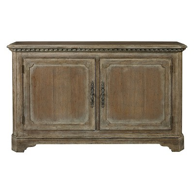 Hand Painted Traditional Distressed Two Door Accent Storage Console with Brass Hardware - Brown - Pulaski