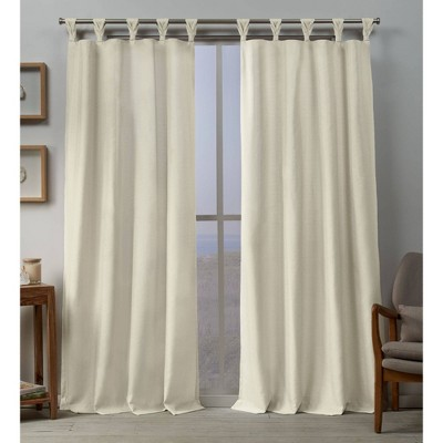 set of 2 96 x54 loha linen braided tab top curtain panel ivory exclusive home