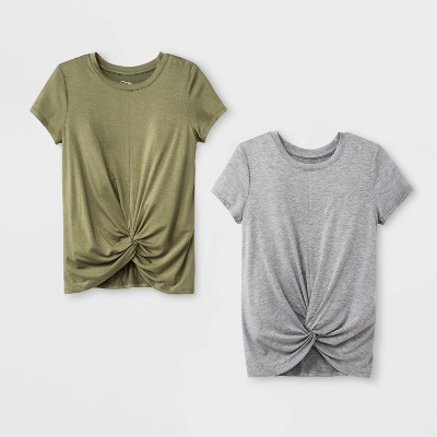 Girls' Short Sleeve Twist Front 2pk T-Shirt - art class™ Olive/Gray