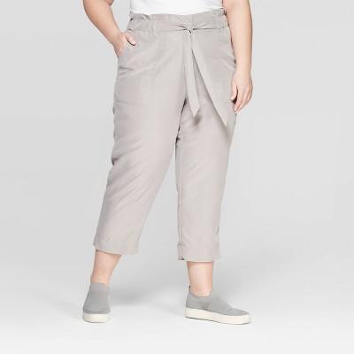 Women's Plus Size Mid-Rise Ankle Length Paperbag Waist Pants - Prologue™