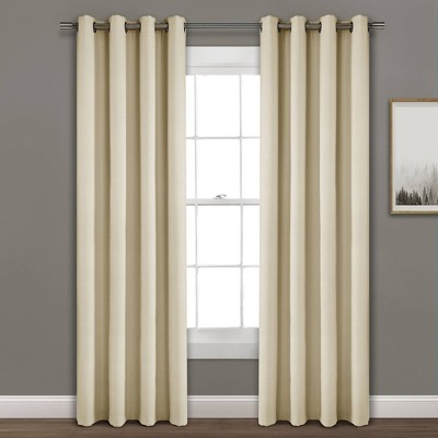 84 x52 faux linen absolute blackout grommet top single window curtain panel beige lush decor