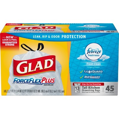 glad kitchen bags table set with bench forceflex odorshield tall drawstring trash fresh clean scent 13 gallon 45ct target