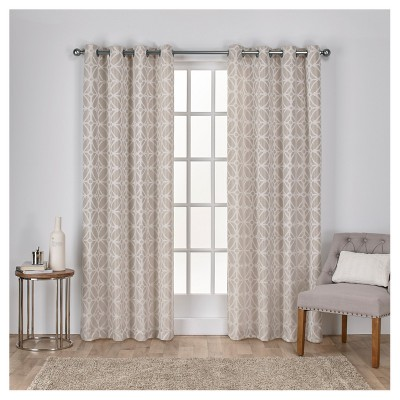 Cressy Geometric Textured Linen Jacquard Grommet Top Window Curtain Panel Pair - Exclusive Home™