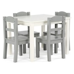 Kids Chair Set High Backed Throne Tot Tutors Of 4 Chairs With Springfield Wood Table Gray Target