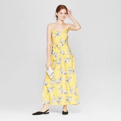 Women's Floral Print Sleeveless Maxi Dress - A New Day™ Yellow