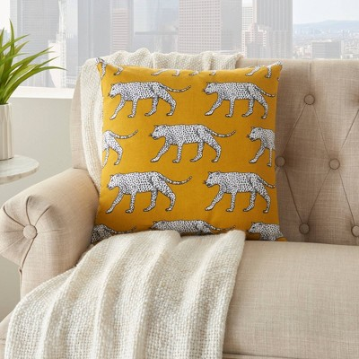 18 x18 life styles cheetah print throw pillow yellow mina victory