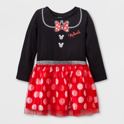 Toddler Girls' Disney Mickey Mouse & Friends Minnie Mouse Long Sleeve Tutu Dress - Black