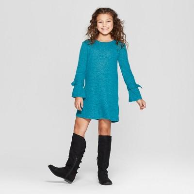Girls' Cozy Long Sleeve Dress - art class™ Blue