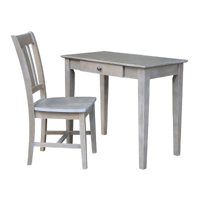 Small Desk with Drawer and Chair - Washed Gray Taupe - International Concepts
