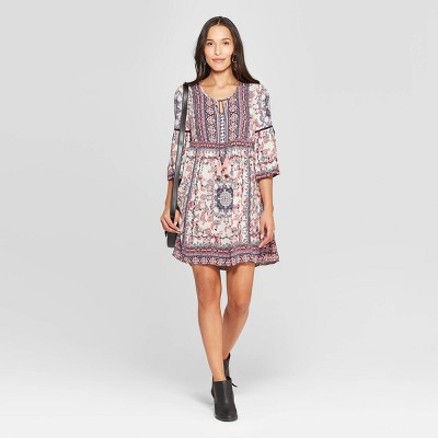 Women's Floral Print 3/4 Sleeve Crew Neck Shift Midi Dress - Knox Rose™ Ivory