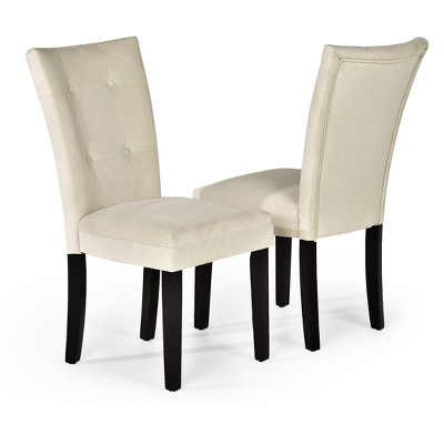 parsons chairs chair covers canberra margo microfiber wood beige set of 2 steve silver company