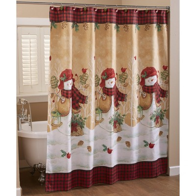 lakeside decorative bathroom shower curtain country christmas snowmen