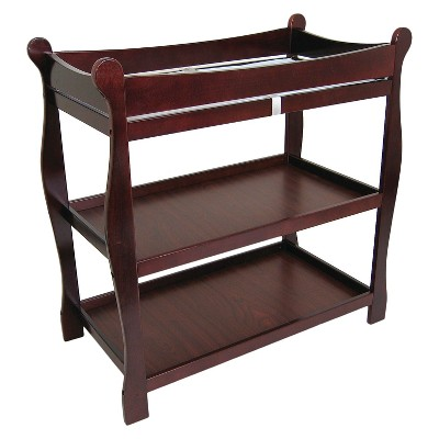 badger basket sleigh baby changing table with cherry finish