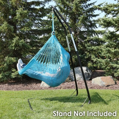 hanging chair rope covers for rent vancouver caribbean hammock sky blue sunnydaze decor
