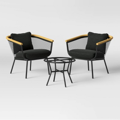 bangor 3pc metal mesh faux wood patio chat set project 62