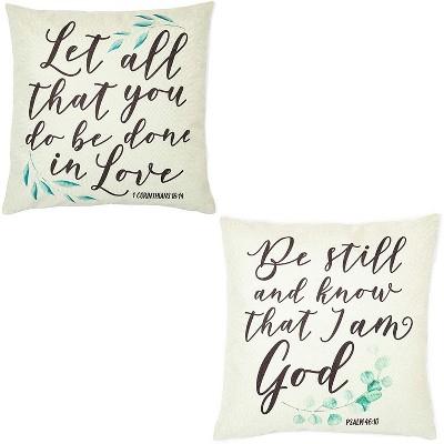 christian throw pillow covers 1 corinthians 16 14 psalms 46 10 18 x 18 2 pack