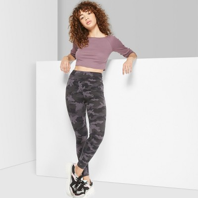 Women's Camo Print High-Waist Leggings - Wild Fable™ Black/Gray