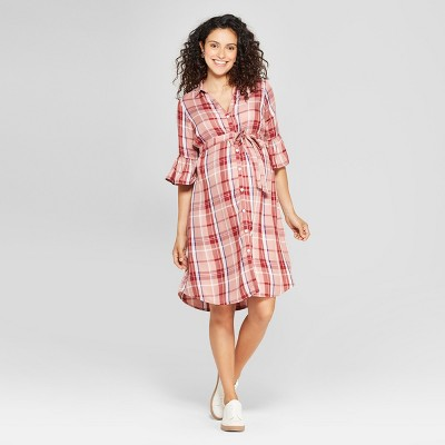 Maternity Plaid Bell Sleeve Woven Tie Waist Shirtdress - Isabel Maternity by Ingrid & Isabel™ Rose