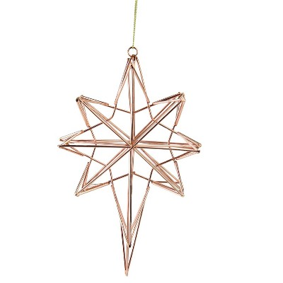 """Northlight 6.75"""" Geometric Wire 8-Point Star Christmas Ornament - Rose Gold"""