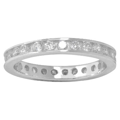 Silver Plated Cubic Zirconia Eternity Band Ring - Size 6
