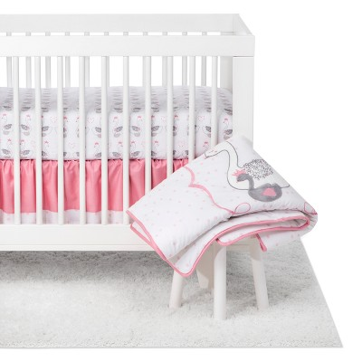 Trend Lab 3pc Crib Bedding Set Swans - White