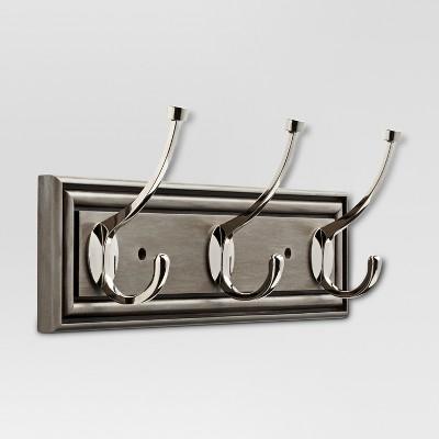 "16"" Hook Rack - Painted Grey & Polished Nickel - Threshold™"