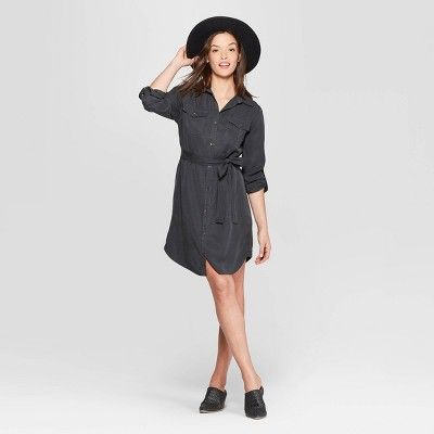 Women's Long Sleeve Collared At Knee Soft Twill Shirtdress - Universal Thread™