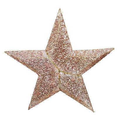 PENN 4' Lighted Elegant Red and Gold Sequined Star Christmas Outdoor Decoration