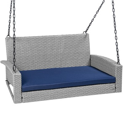 best choice products woven wicker hanging porch swing bench for patio deck w mounting chains seat cushion gray navy