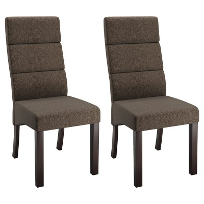tall back chairs massage chair costco upholstered dining brown set of 2 corliving