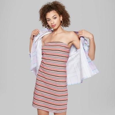 Women's Striped Strapless Knit Tube Dress - Wild Fable™ White