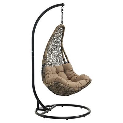abate outdoor patio swing chair black mocha modway