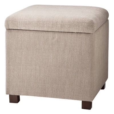 square storage ottoman herringbone tan kinfine