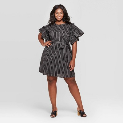 Women's Plus Size Short Ruffle Sleeve Boat Neck Tie Waist Shift Dress - Who What Wear™