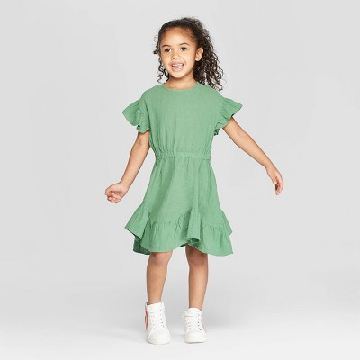 Toddler Girls' Ruffle Short Sleeve A-Line Dress - art class™ Green