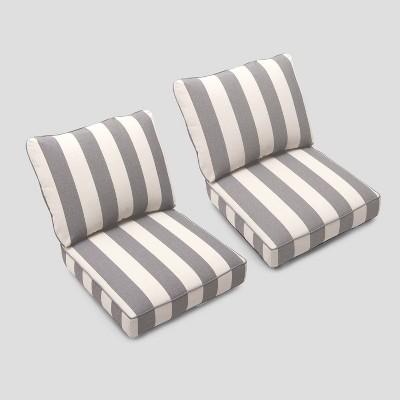 foxborough 2pk cabana stripe club chair cushions gray white threshold