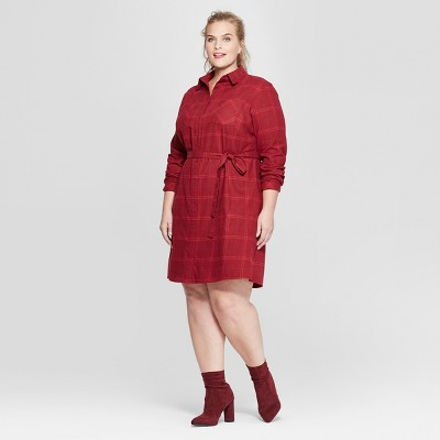 Women's Plus Size Plaid Flannel Shirt Dress - Ava & Viv™ Red