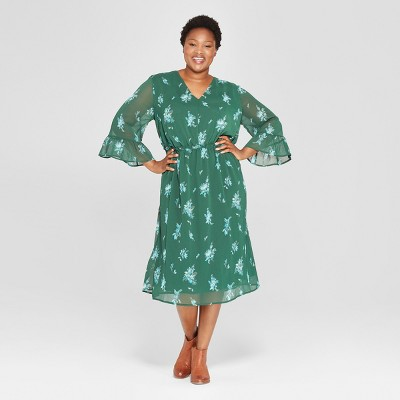 Women's Plus Size Floral Print Ruffle Waist Dress - Ava & Viv™ Green