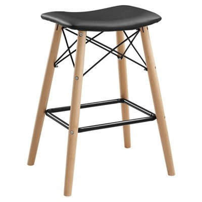 Retro Modern Faux Leather Counter Kitchen Stool - Black - Saracina Home