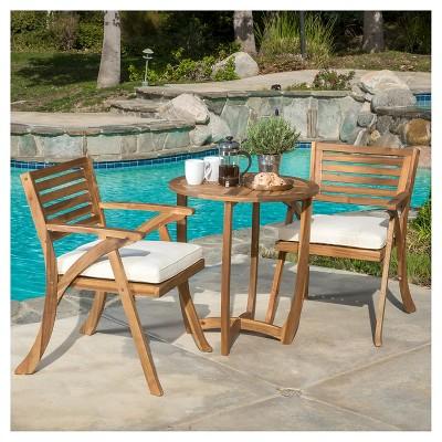 coronado 3pc acacia wood patio bistro set with cushions teak finish christopher knight home