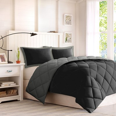3pc King Windsor Reversible Down Alternative Comforter Set with 3M Stain Resistance Finishing Black/Gray