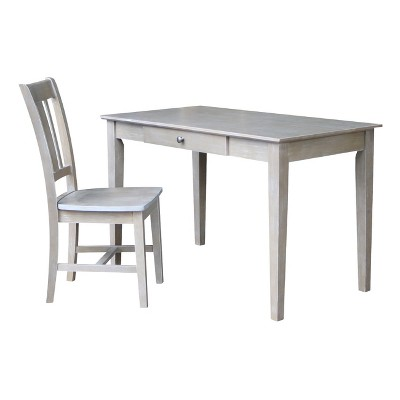 Desk with Drawer and Chair - Washed Gray Taupe - International Concepts