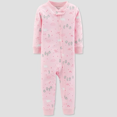Baby Girls' 1pc Penguin Organic Cotton Pajama - Little Planet by Carter's Pink
