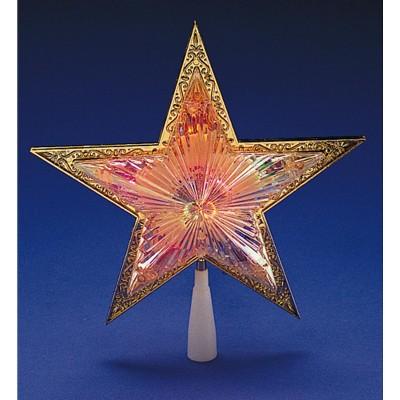 """Kurt S. Adler 10"""" Lighted Gold Star Christmas Tree Topper - Multi-Color Lights"""