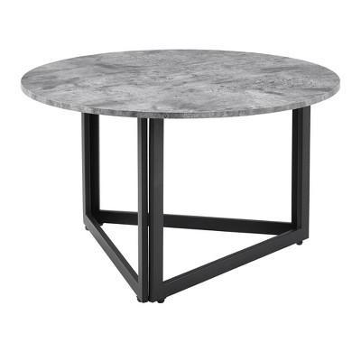 modern metal base round coffee table dark concrete saracina home
